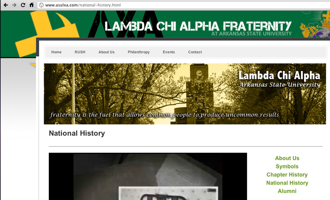 Lambda Chi Alpha Fraternity Website for Arkansas State University